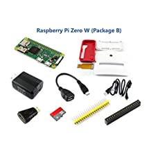 Raspberry Pi Zero W (Built-in WiFi) Development Kit Type B with Micro SD Card, Power Adapter, Official Pi Zero Case and Basic Components