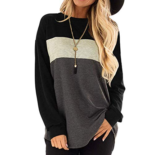 Cenglings Women's Long Sleeves Crew Neck Tunic Tops Casual Loose Color Block Tops Patchwork Blouse Black ()