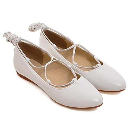 TAOFFEN Women's Comfortable Lace Up Shoes White 4o9UXg