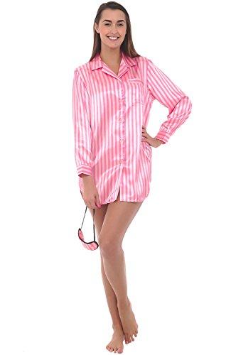 Del Rossa Womens Satin Printed Nightshirt, Boyfriend Style Sleepshirt with Mask