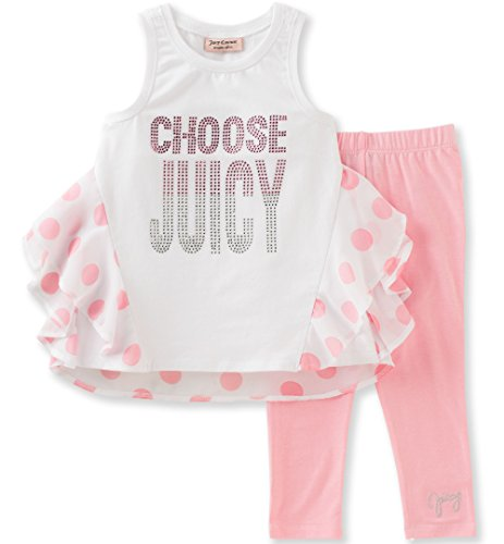 Juicy Couture Big Girls' 2 Piece Pant Set-Polka Dots, White/Pink, 7
