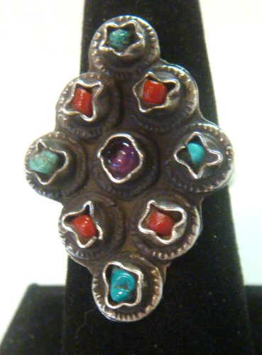 TAXCO Mexico 925 Sterling Silver Unique Ring w/Multi Stone Inlays Size -