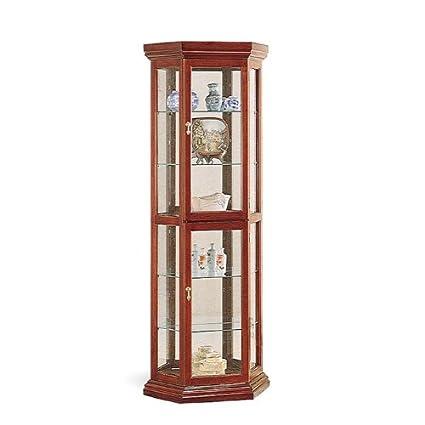 Coaster Solid Wood Corner Style Glass China Curio Cabinet, Cherry Finish