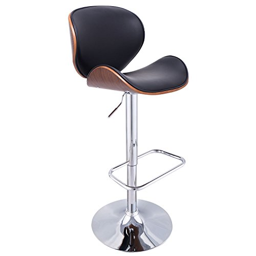 Price comparison product image GentleShower Bent wood barstool,  Adjustable Height Swivel PU Leather Adjustable Barstools Chrome Swivel Stool Chairs with Curved Backrest & Footrest