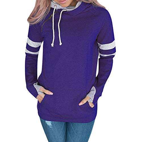 Respctful ♪☆ Women's Sweaters,Ladies Long Sleeve Hooded Sweaters Patchwork Pullover Casual Sweaters Jumper Blue