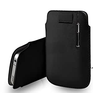 Nokia Lumia 822 Cuero Negro Tire Tab caso de la cubierta Pouch + Retractable Stylus Pen Touch + paño de pulido