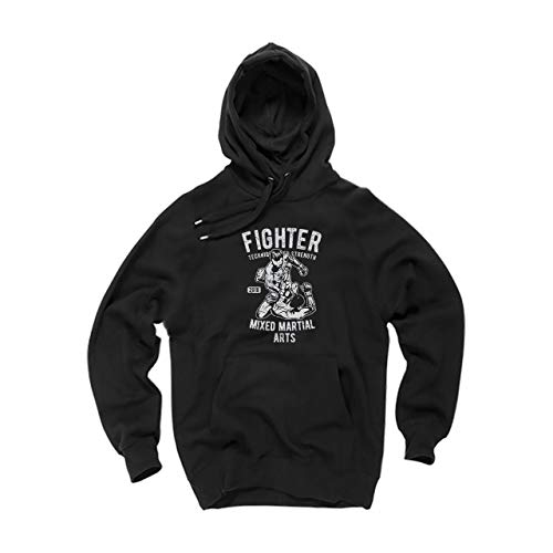 Martial Fighter Wallshirt Mma Mixed Nero Felpa Cappuccio Arts Unisex wxS6IBPASq