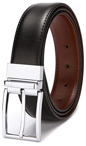 Reversible Belts for Men Genuine Leather Men's Dress Belt Black 36 38 Belt Brown 1