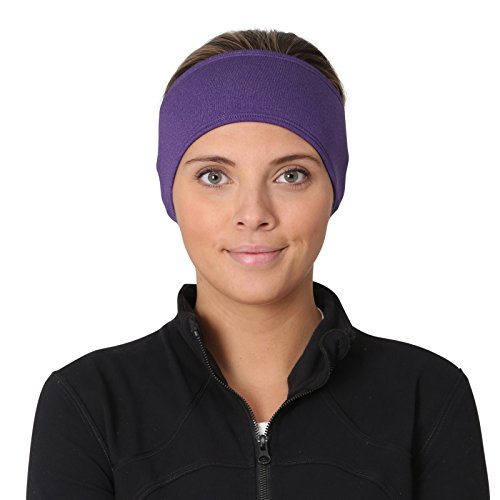 TrailHeads Women's Ponytail Headband | Moisture Wicking Ear Band | The Power Running Headband (Heather Purple) (Thermal Band Ear)