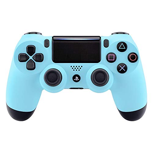 eXtremeRate Heaven Blue Faceplate Cover, Soft Touch Front Housing Shell Case, Comfortable Soft Grip Replacement Kit for Playstation 4 PS4 Slim PS4 Pro Controller (CUH-ZCT2 JDM-040 JDM-050 JDM-055)