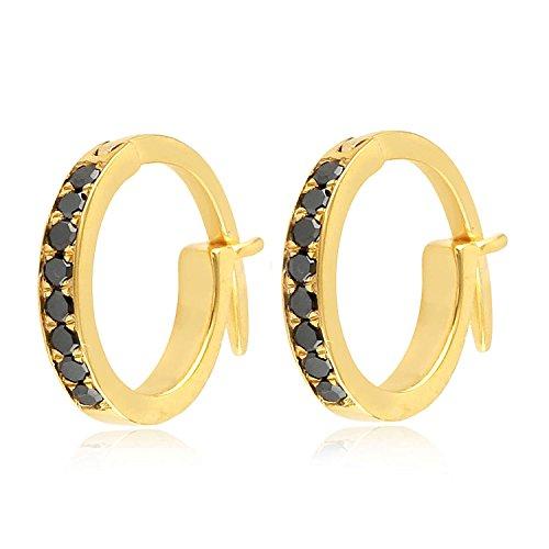 Diamond Antique Earring - 14K Yellow Gold Micropave-Set Black Diamond Huggie Hoop Fashion Earrings For Women