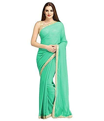 (Indian Women's Ethnic Saree Beaded Border Plain Georgette Wrap Party Wear Sari Sea Green)