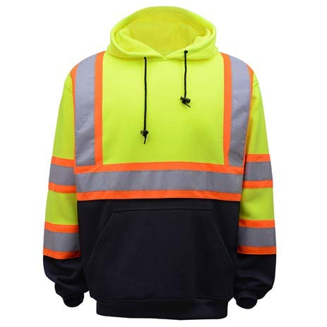 Class 3 Two Tone Pullover Safety Sweatshirt (X-Large, Lime)