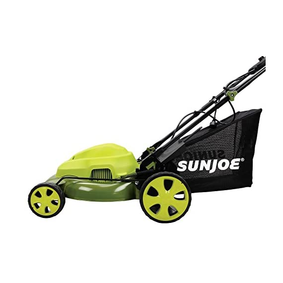 Sun Joe MJ408E 20-Inch 12-Amp Electric Lawn Mower + Mulcher, w/Side Discharge Chute 3 Maintenance free - No gas, oil or tune-ups Detachable grass catcher for easy disposal; Grass collection bag capacity: 14. 5 gal Best use: small to mid-sized lawns