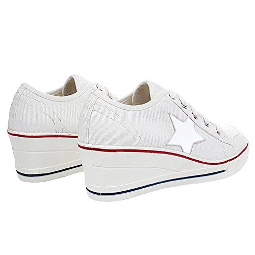 Casuel Tennis Toile Mode Chaussures Compensées Sneakers Femme vz1grfRv
