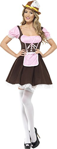 Smiffy's Women's Tavern Girl Costume Short Dress with Attached Apron, Brown/Pink, Medium