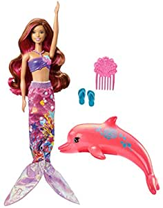 Barbie Aventura de los Delfines, muñeca sirena mágica con accesorios (Mattel FBD64)