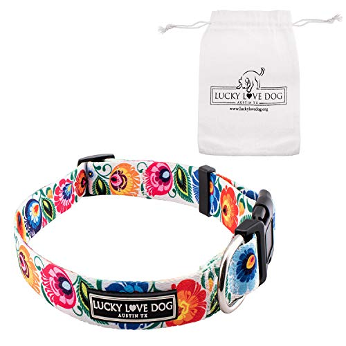 Lucky Love Dog Collars | Cute Girl Collars | Small Medium Large Female Collars | Part of Purchase Donated to Rescue (Lady Bird, Medium)