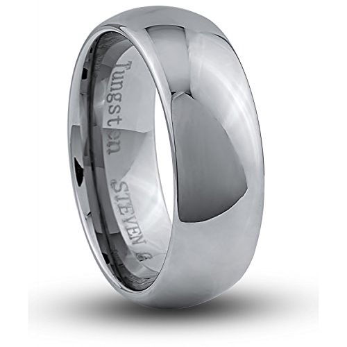 STEVEN G Tungsten Carbide Band Style Wedding Ring 8mm Wide High Polished Dome Shape Design Comfort Fit