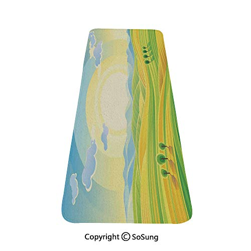 (Farm House Decor Rug Runner,Sunny Rural Landscape with Rolling Hills Fields in Autumn Color Cartoon Art Print,for Living Room Bedroom Dining Room,4'x 2',Yellow Green)