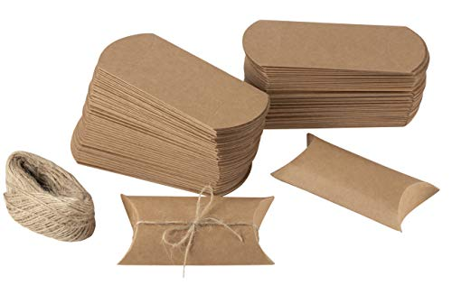 Juvale Kraft Pillow Boxes 4.7 x 2.2 Inches (100 Pack)]()