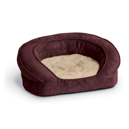 K&H Pet Products Deluxe Ortho Bolster Sleeper Pet Bed Medium Eggplant Paw Print 30'