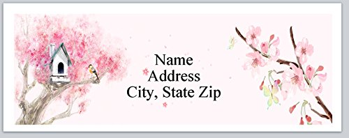 (120 Personalized Address labels Cherry Blossoms Birdhouse (P 297))