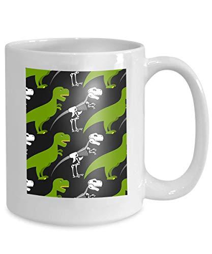 mug coffee tea cup dinosaur skeleton green prehistoric monster skull crossbones texture baby tissue ornament Paintings 110z