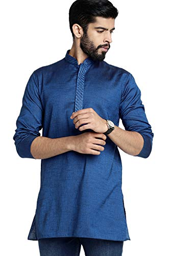 Shatranj Men's Indian Banded Collar Classic Kurta Tunic with Embroidered Placket, Navy Blue, XL