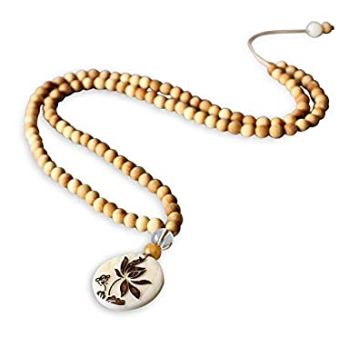 Zen 108 Mala Lotus Collar para mujer Hecho a mano. De madera ...