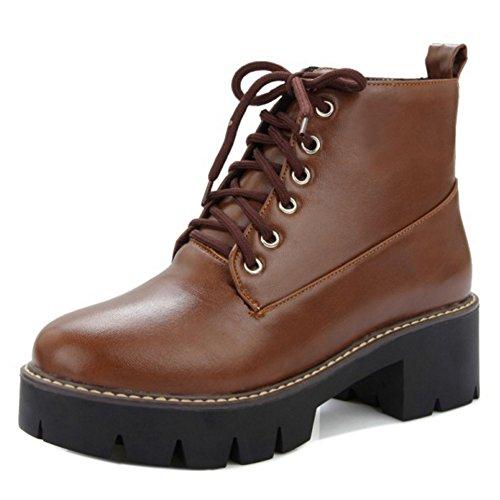 Botines Botas Brown de autunno Mujer Zapatos Cordones Boots Para RAZAMAZA Martin Moda waqfYOfX