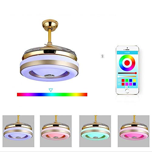 - Ceiling Fan with Light and Bluetooth Speaker, 7 Colors LED Pendant Lamp with Remote Control Music Player for Living Room Bedroom Dining Room