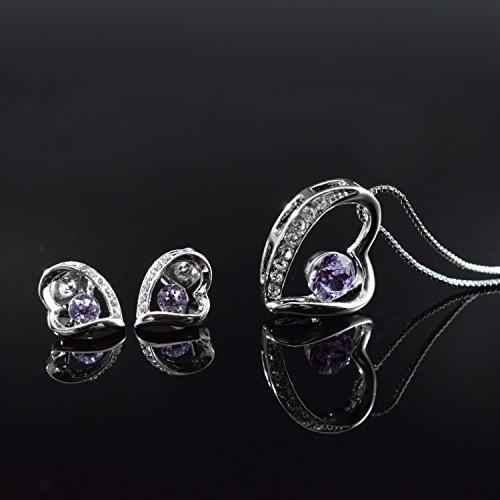 JiangXin confensión de amor juego de joya violada de cristal de Swavovski en forma de corzón el aretes el colgante el collar