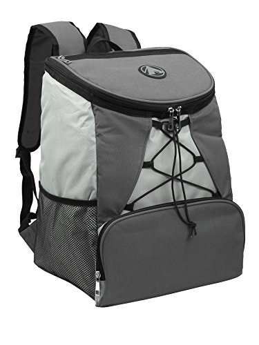 Large Padded Backpack Cooler - Fully Insulated, Leak and Water Resistant, Adjustable Shoulder Straps, Extra Storage Pockets - Grey - by GigaTent