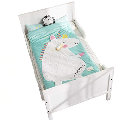 YAYIDAY Sleeping Bag Zipper Closure with Pillow Insert for Kids Toddler Nursery Fleece Cotton Quilted Slumber Bag Nap Mat Blanket Soft Warm Girl Boy Sleep Sack Sleepovers Animal Cartoon Unicorn ()