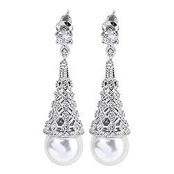 Pearl Crystal Round Drop Earrings