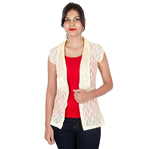 10d62833edb Unees Bees (19 20) Women Translucent Full Net Shrug with Glitter Work On  Neck Side (Beige) 19