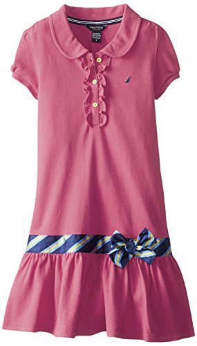 Nautica Big Girls' Pique Polo Dress with Gold Buttons, Pink, (Dresses For Girls Size 7 8)