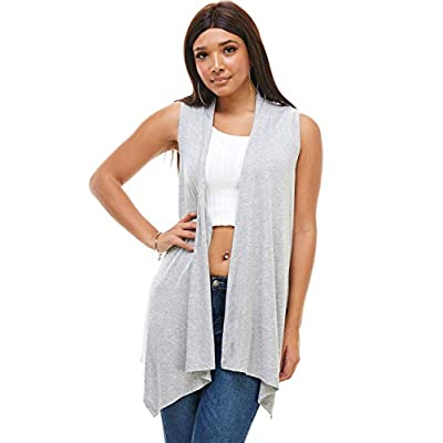 doublefive USA Casual Basic Color Long Sleeve Classic Lightweight Soft Open Front High Low Drape Sweater Comfortable Cardigan at Women's Clothing store