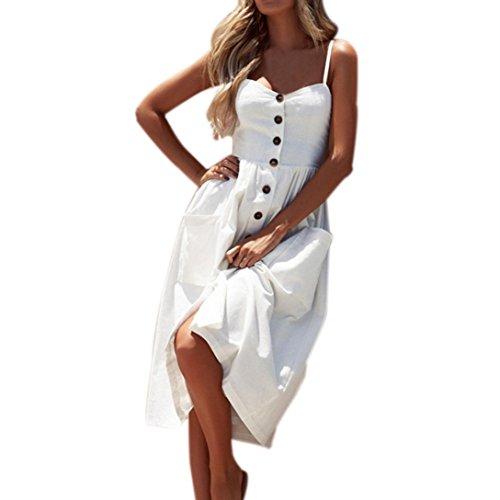 vermers Women Summer Sexy Dresses, Buttons Solid Off Shoulder Sleeveless Princess Dress (S, - Foil Cerise