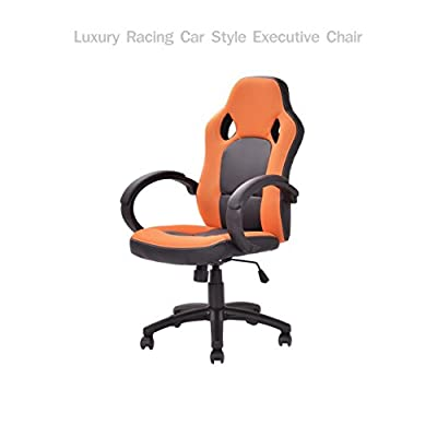 Modern Racing Style High Back Executive Office Desk Gaming Chair Comfortable Bucket Seat Swivel Desk Task PU Leather Upholstery Adjustable Height Posture Support #1711org
