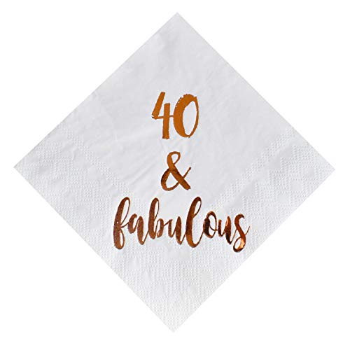 40 and Fabulous Cocktail Napkins, 50-Pack 3ply White Rose Gold 40th Birthday Dinner Celebration Party Decoration -