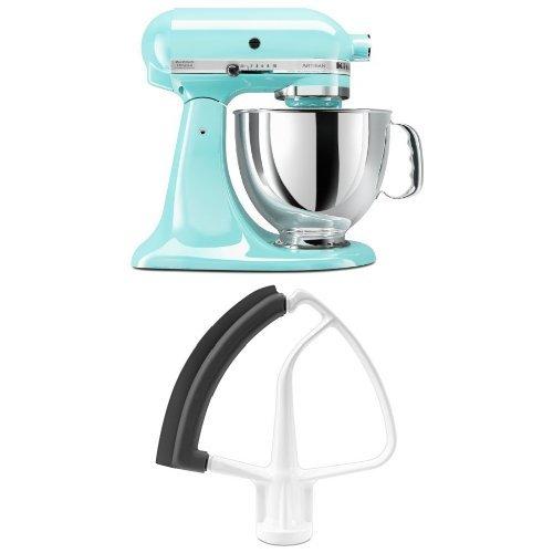 KitchenAid KSM150PSIC Artisan 5 Quart Stand Mixer, Ice Blue + KitchenAid  KFE5T Flex Edge