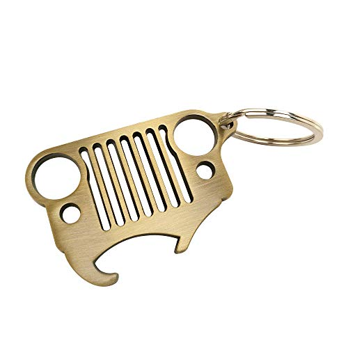 - HUSUKU Grill 3D Bronze Brushed Metal Key Chain & Bottle Opener - 304 Stainless Steel Keychain with Integrated Bottle Opener for Jeep Wrangler Accessories Enthusiasts Car Gift (4 Styles Optional)