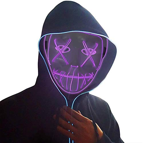 Ankuka Frightening Wire Halloween Glowing Mask, Scary Cosplay LED Light up Masks for Gifts, Costume Parties, Dance, Carnival or Club