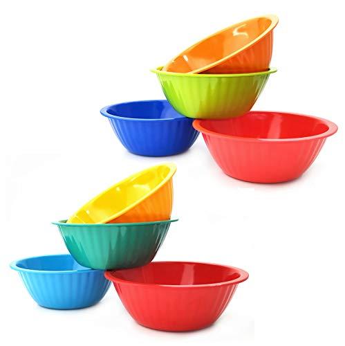 Melamine Salad Bowls set of 8 - 6inch 18oz Snack Bowls/Picnic Bowls/Kids Bowls, MultiColors  100% Melamine Bowls,Dishwasher Safe,BPA Free