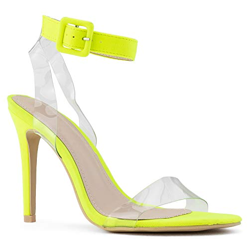 RF ROOM OF FASHION Women's Open Toe Clear Ankle Strap Dress Party Stiletto High Heel Sandals NEON Yellow Size.8