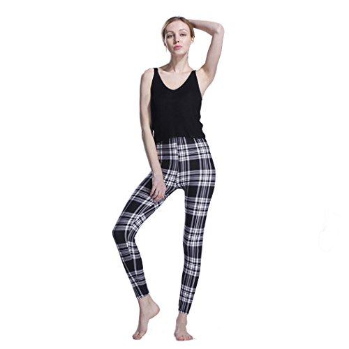 Desility 2018 Spring Summer Lady Women Vintage Pants Plaid Printed Brushed Slim Fitness Leggings Regular Size (S - XL) Gray Grid ()