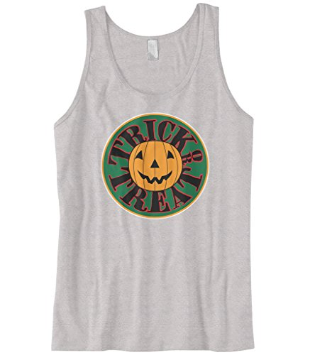 [Cybertela Men's Pumpkin Trick Or Treat Halloween Tank Top (Light Gray, Medium)] (Smiley Horror Mask)