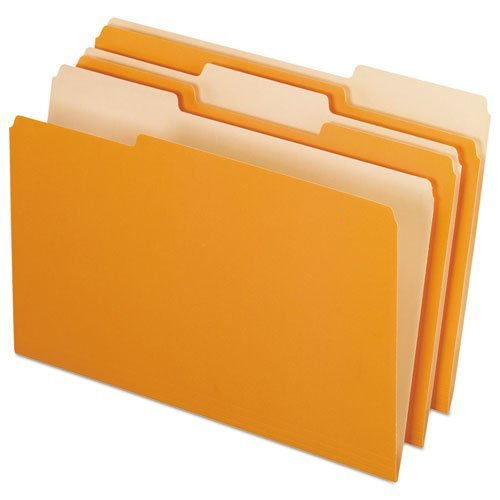 Pendaflex® Two-Tone File Folders, 1/3 Cut, Top Tab, Legal, Orange/Light Orange, 100/Box by Pendaflex